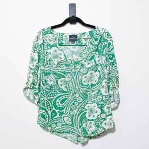 Anthropologie Maeve Green and White loose fit top